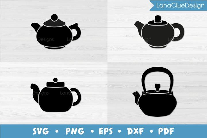4 Teapots SVG - Tea Kettles