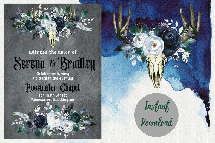 Gothic Dark Wedding Invitation