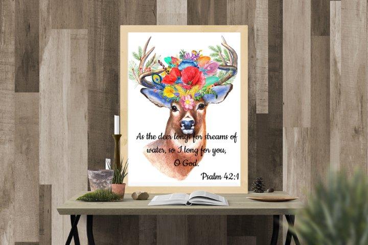 Psalm 42 vs 1, BOHO wall art, Deer wall art, Floral Deer