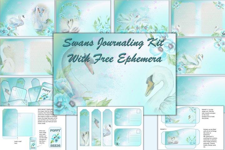 Swans Journaling Kit with FREE Ephemera JPEG, PNG and PDF
