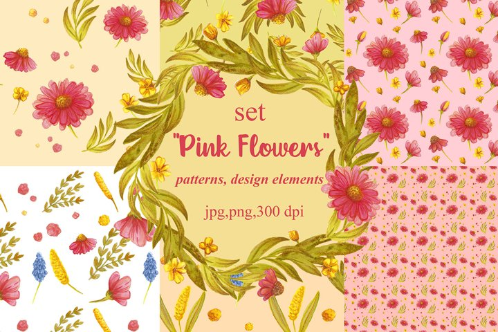 Watercolor clipart set Pink flowers ,botanical clip art