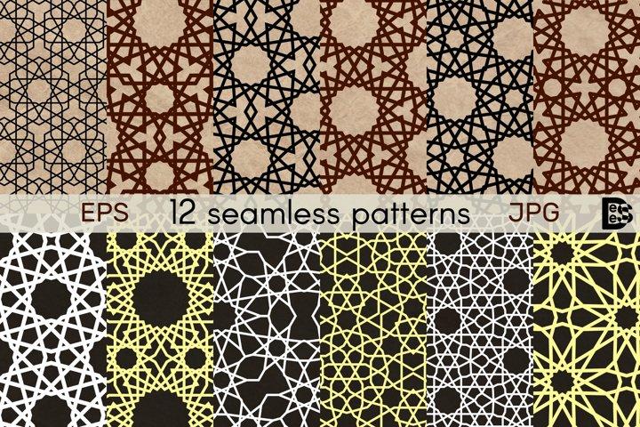 Geometric seamless patterns. 12 Arabic ornament. Vector EPS