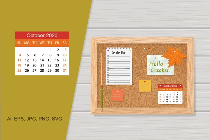 Illustration cork board with 2020 calendar and to do li