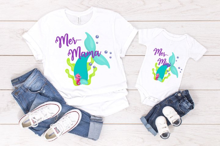 Mermaid Mini And Mama SVG, Mermaid Bundle SVG, Mom And Me