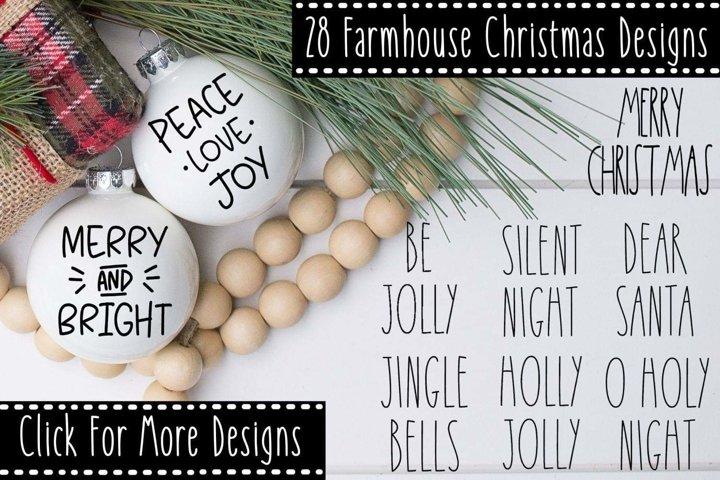 Farmhouse Christmas Ornament SVG Cut File Bundle 28 Designs