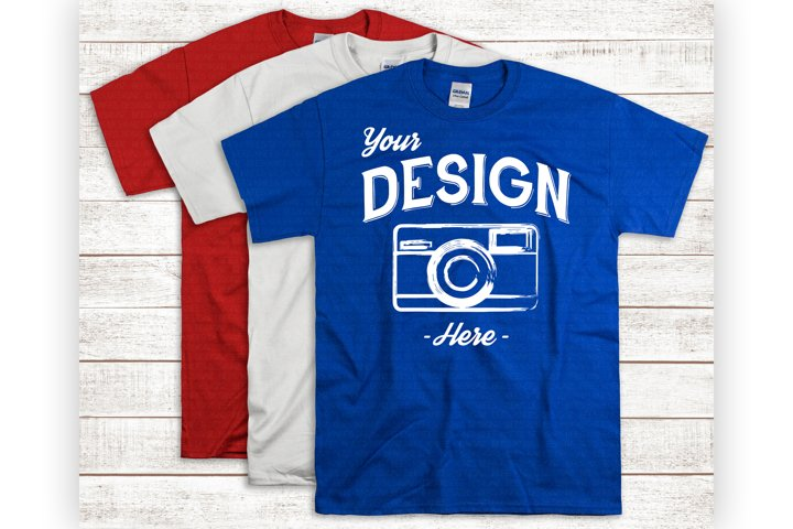 USA Tshirt Display Royal Blue Shirt Mockup For 4th Of July