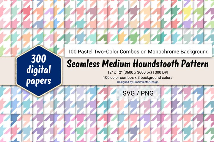 Seamless Houndstooth Paper-100 Pastel Two-Color Combos on BG
