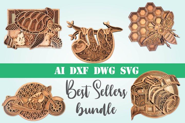 Best sellers bundle 3d svg layered Multi layer mandala