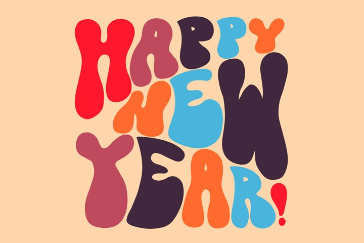 70s retro hand lettering Happy New Year wishes