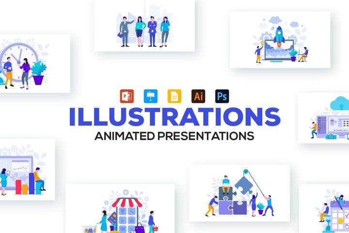 Flat animated illustrations