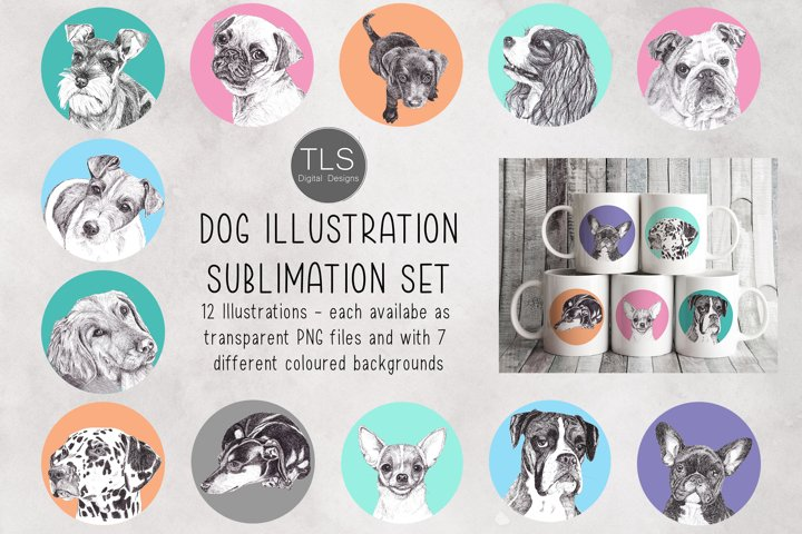 Dog Illustration Sublimation Bundle, Mug sublimation design