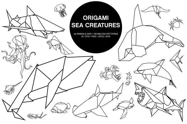 Origami Sea Animals Vector Set