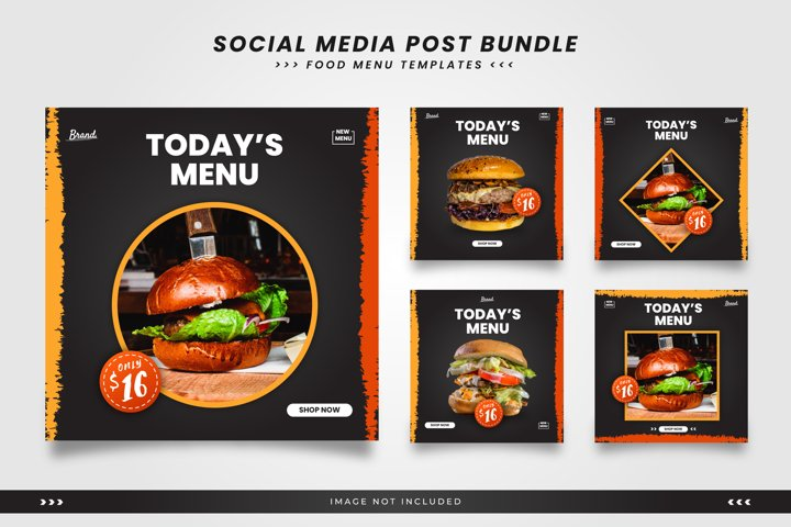 Social media templates for food menu