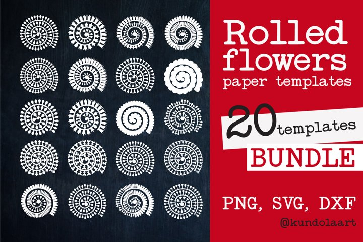Rolled Flower paper template SVG. Rolled Flower SVG.