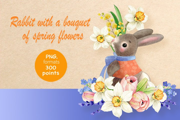 Rabbit with a bouquet of spring flowers