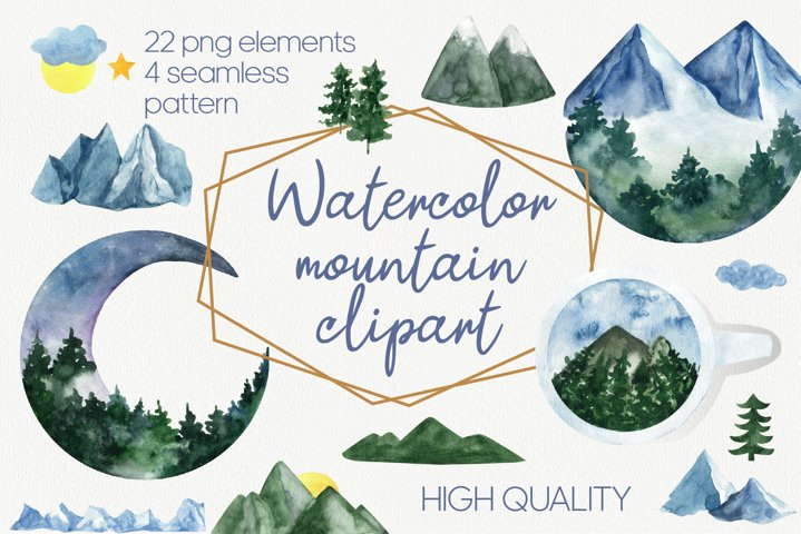 Mountain clipart and landscape clipart. Watercolor clipart