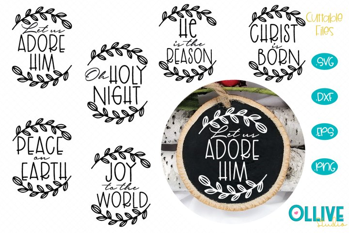 Christmas Ornaments Rounds Religious Bundle SVG