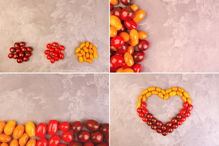 Collection of cherry tomatoes on gray marble background.