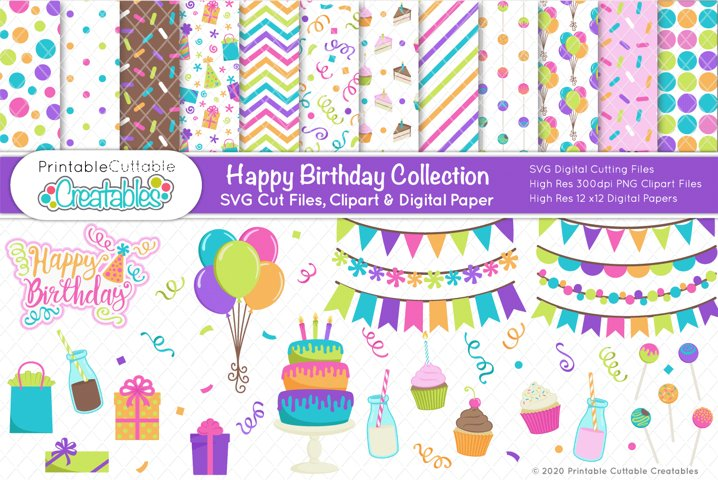 Happy Birthday SVG Bundle - Cut Files & Digital Paper