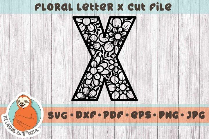 Flower Filled Letter X SVG - Floral Letter Cut File