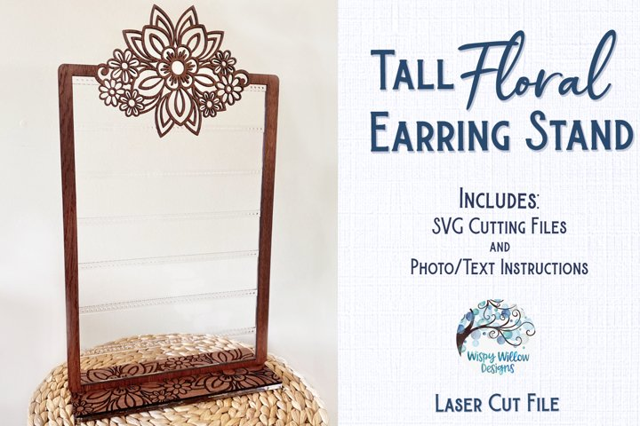 Tall Floral Earring Stand for Glowforge or Laser Cutter