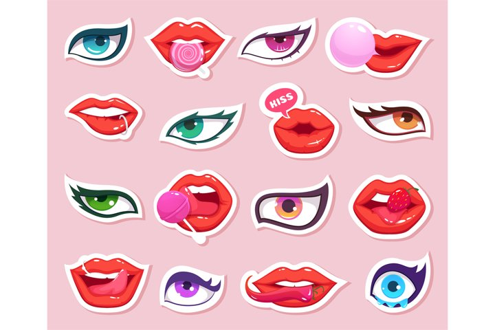 Fashion stickers. Sexy woman lips with candy and eyes comics