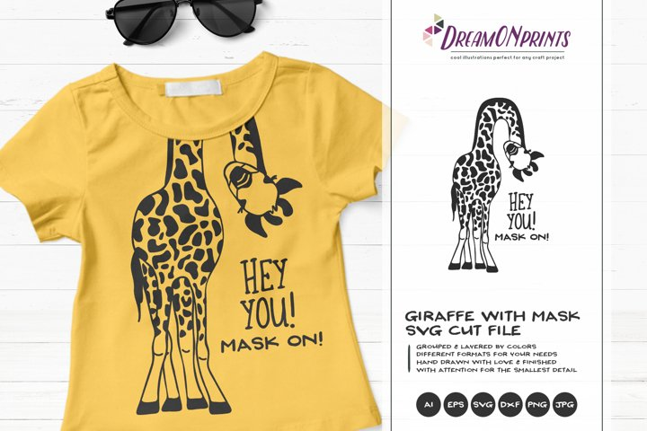 Hey YOU | Fun Giraffe SVG | Giraffe with Face Mask
