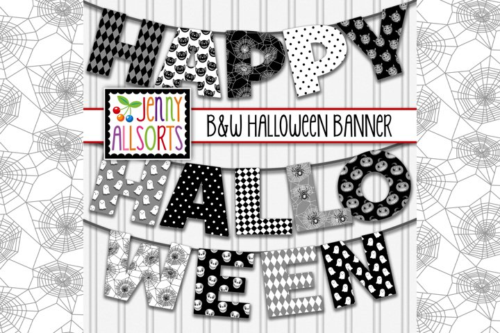 Printable Halloween Banner - 6 Black and White Letters