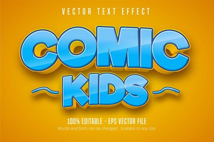 Comic kids text, comic style editable text effect