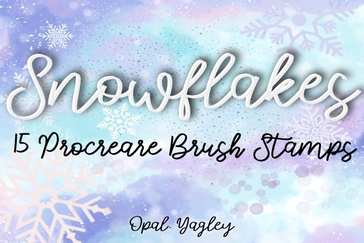 Procreate Brushes, 15 Snowflakes Stamps / Christmas / Winter