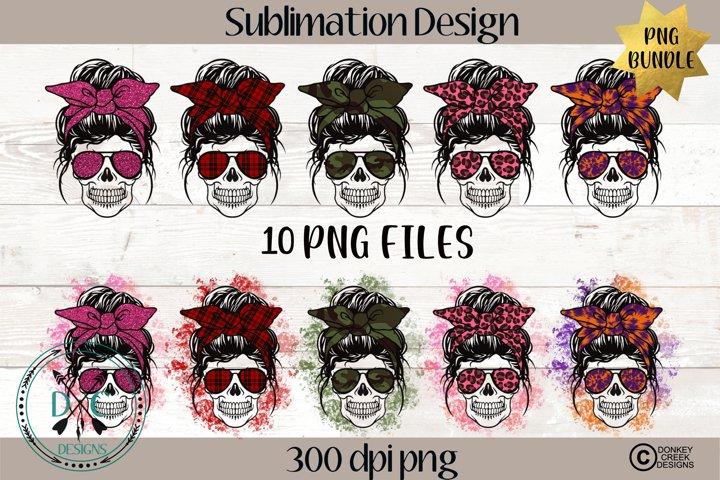 Sublimation Bundle- Messy Bun Mom Skull PNG Designs