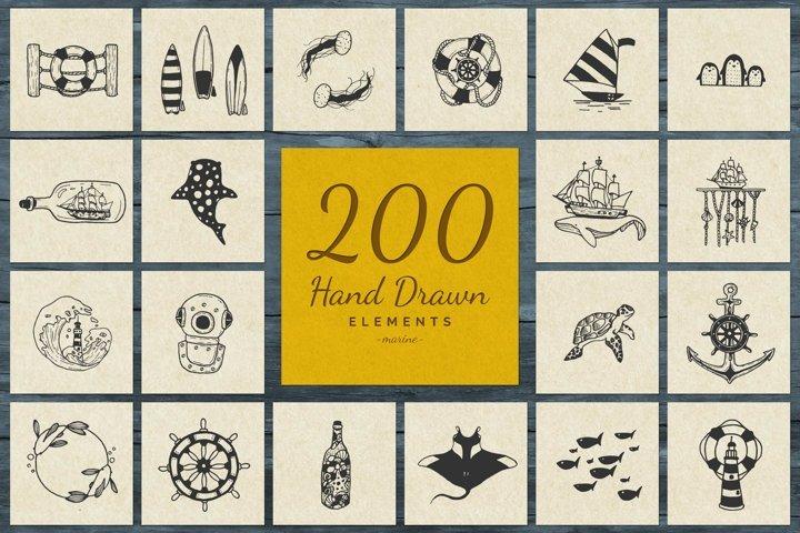 200 Hand Drawn Elements -Marine-