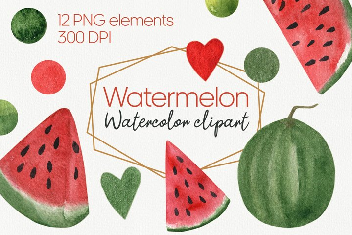 Watercolor watermelon clipart PNG, Watermelon birthday party