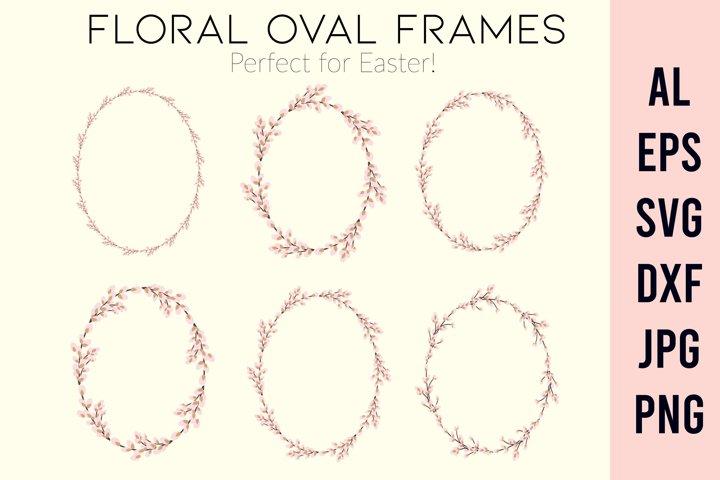 Wreath SVG | Floral oval frame SVG |Easter wreath frame