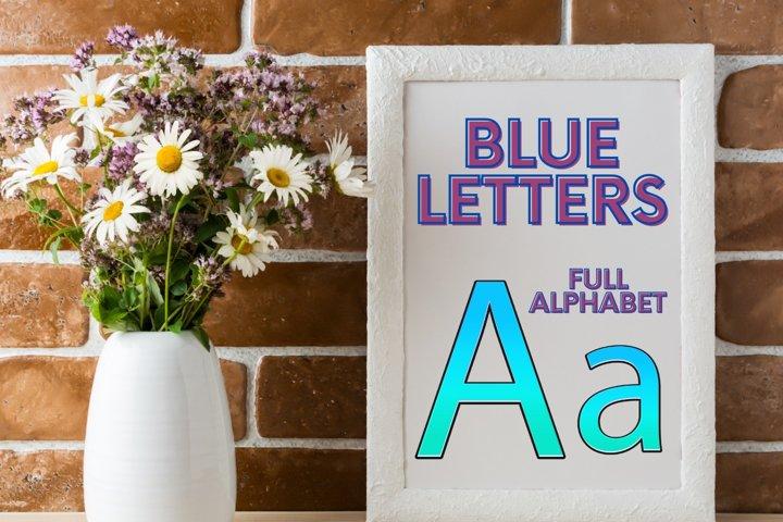Decorative Blue Alphabet, Blue Typography, Blue Sparkle Font