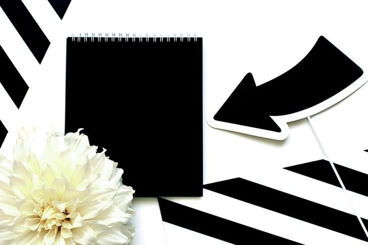 Black and white flatlay with stripes and white flower