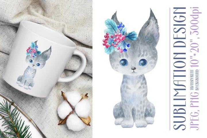 Cute watercolor lynx. Sublimation design