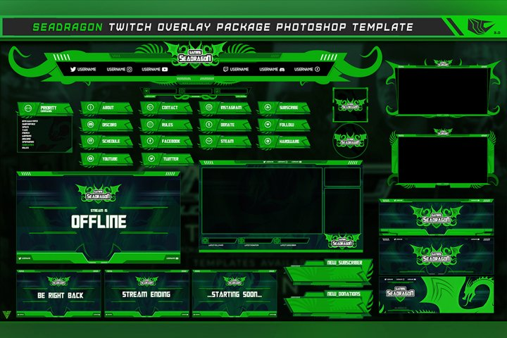 Green Sea Dragon Twitch Overlay Package Photoshop Template