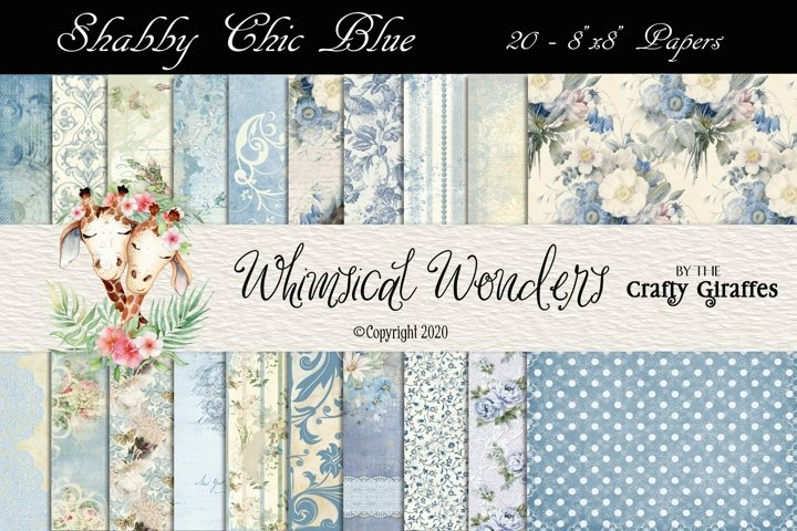 Shabby Chic Blue- 20 8x8 Papers