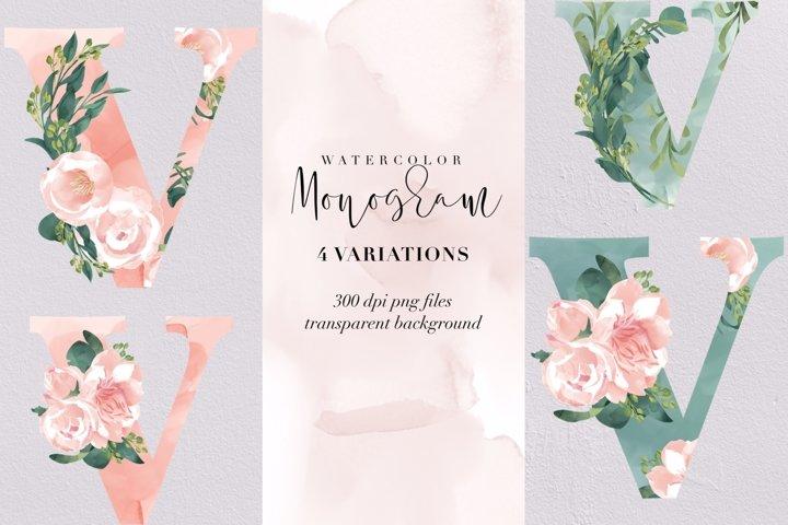Letter V watercolor monogram, floral monogram PNG, flowers