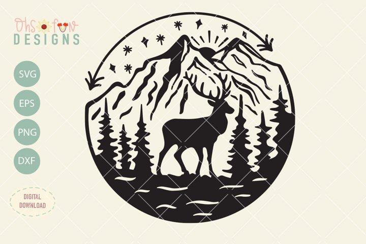 Elk mountain svg file, outdoor t-shirt design svg