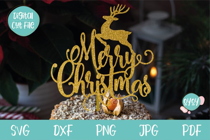 Merry Christmas Cake Topper SVG with Deer