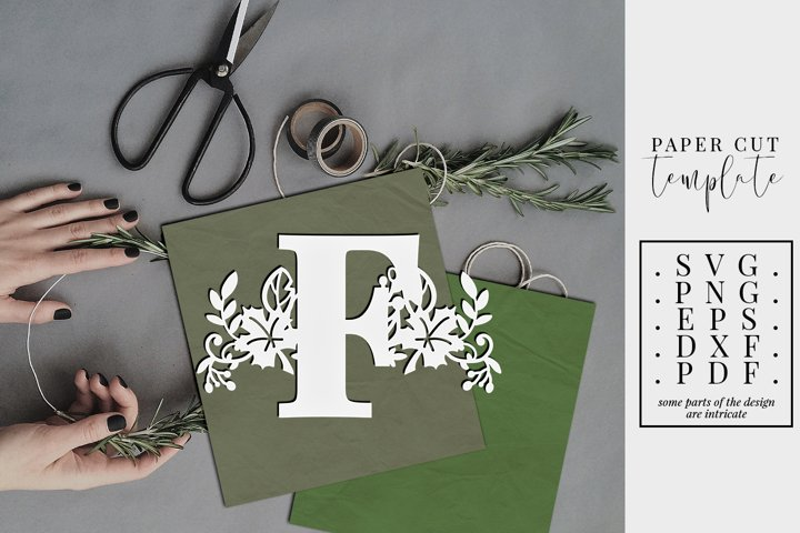 Autumn letter F, single initial paper cut template, fall SVG