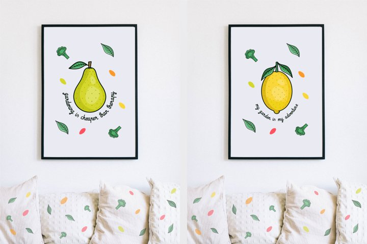 Fruits, Vegetables, Gardening Quotes, Pattern