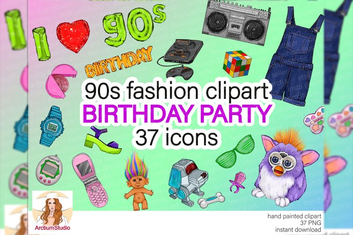 I love 90s clipart, 90s birthday clipart, birthday clipart