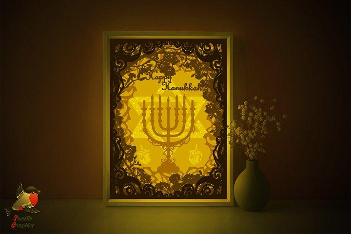 Happy Hanukkah Menorah Lightbox Shadow Box SVG Template