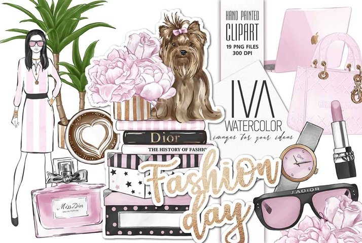 Fashion Day Clipart Set, Fashion Digital Accessories Clipart