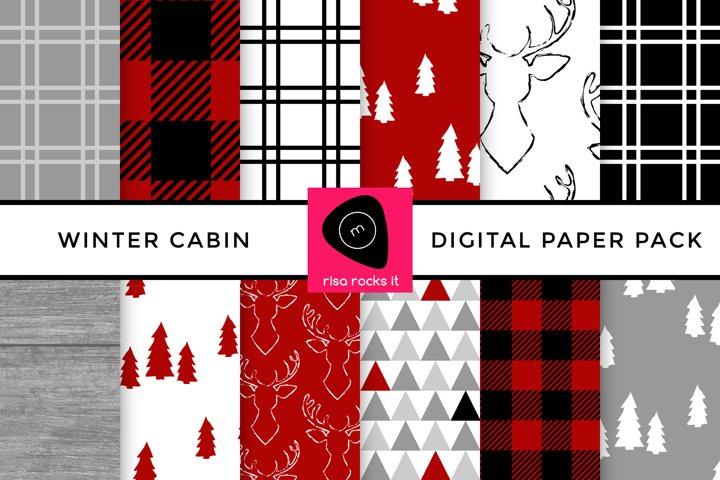 Winter Cabin Buffalo Plaid Digital Paper Pack