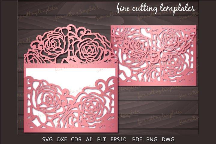 Wedding Invitation Roses Laser cut 5x7 envelope template