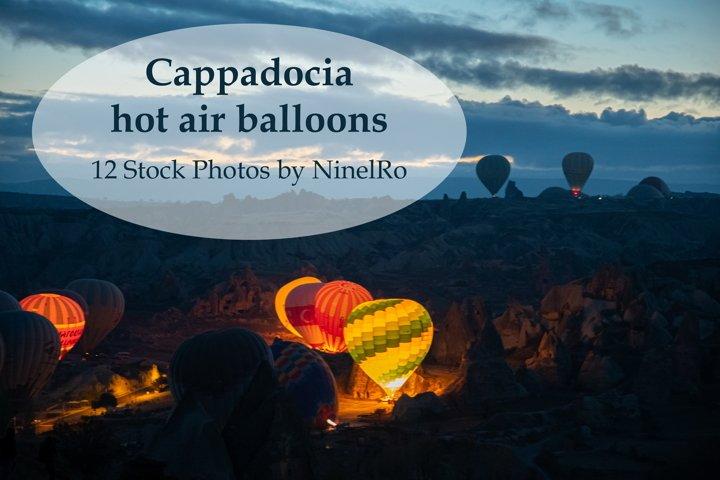 Set of 12 Cappadocia balloons in sunrise. Travel stock photo
